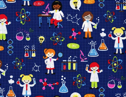 Girl Science Fabric on Navy