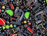 Timeless Treasures Science Allover Black